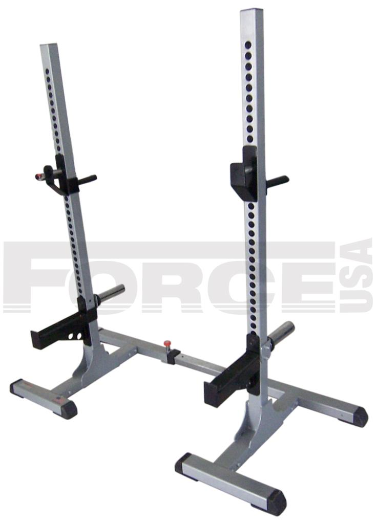 Force usa adjustable width squat stand with dip handles